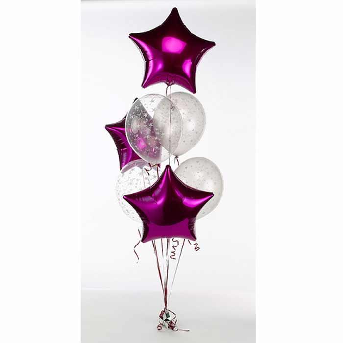Centro de Mesa com 4 balões transparentes + 3 balões em estrela.