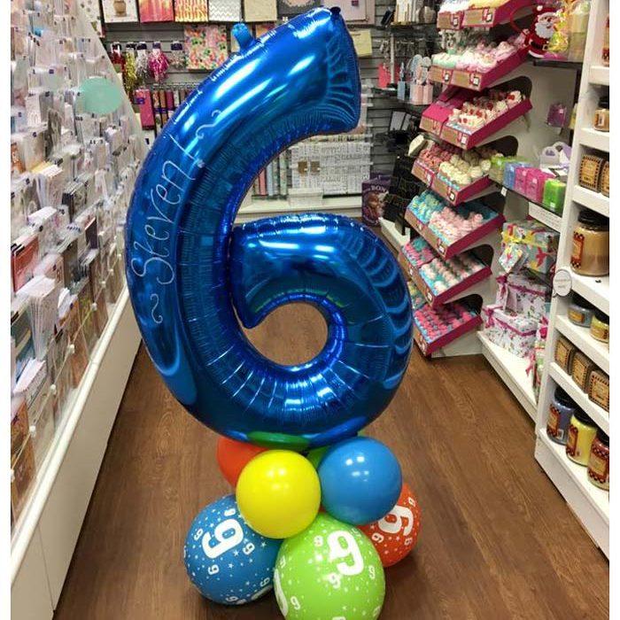 Coluna de Balões com Balão no topo em forma de número.